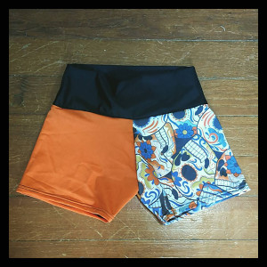 Orange and Skull Shorts (Small) - $40