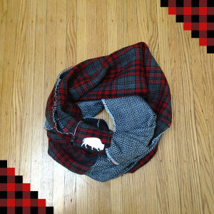 Double Sided Flannel Infinity Scarf (R/B/W) $25.00